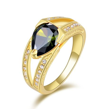 GR369,inel placat aur 14k, mode masiv, unisex, zirconiu alb/verde