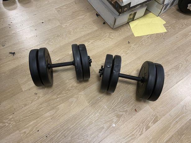 Gantere reglabile noi set de 22 kg ambele 11+11=22 kg  pret 199 ron