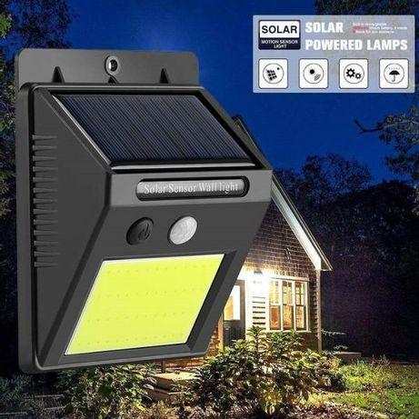 Соларен прожектор с 48 led диода лампа мощен за стена датчик движение