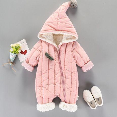 Зимен гащеризон за момиче Космонавт за бебе Розов бебешки ескимос