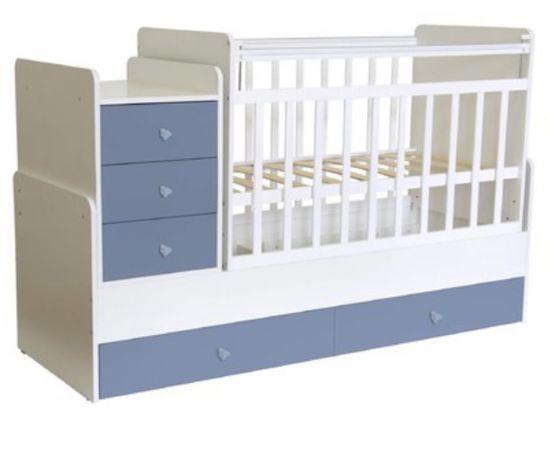 Кровать детская с матрасом, чехлом для матраса и бортиками