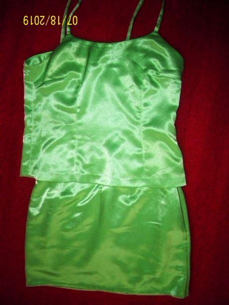 Costumas verde sidefat saten mar M