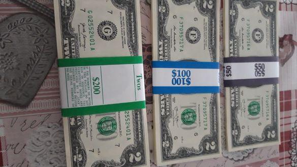 банкноти 2 $ нови нециркулирали,непрегъвани поредни номера