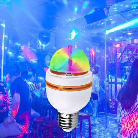 ХИТ LED RGB въртяща диско лампа крушка страхотни ефекти цвето музика