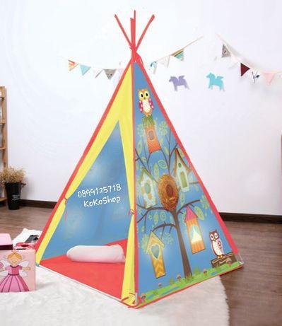Детска индианска палатка-типи с LED светлини-120х120х160 см.