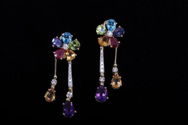 Серьги с камнями и с бриллиантами, золото 750 (18K), вес 23.18 г.
