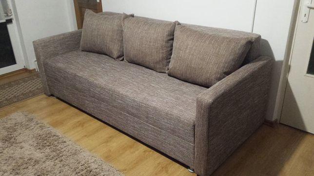 Canapea extensibila 3 locuri cu lada de depozitare Cappucino Ikea NOU
