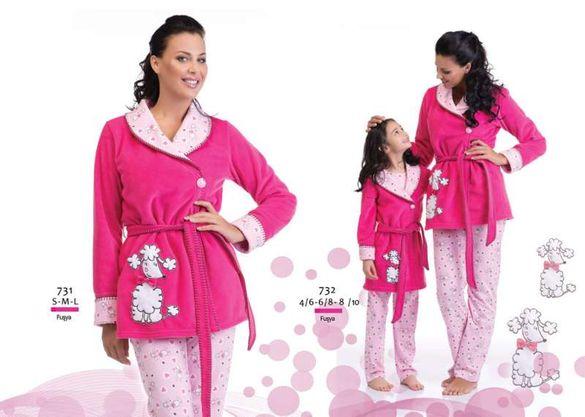 Луксозен детски халат от първокачествен микрополар за 4-10год.