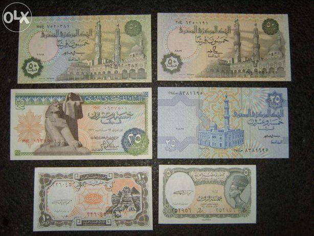 Bancnote EGIPT,UNC,1981-2003,6 buc.