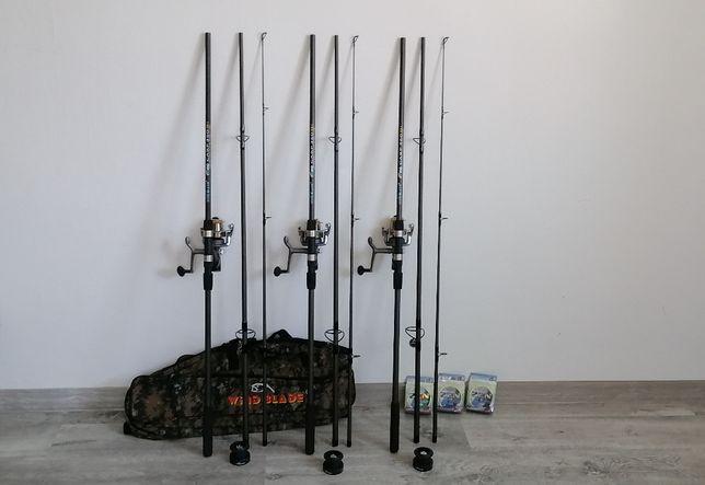 Set 3 Lansete Fino CARP 3.6m/EB-1 + 3 Mulinete KDL60 + Husa 130cm