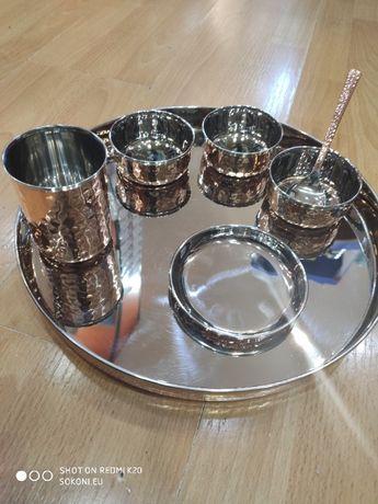Комплект за хранене от мед / Copper stainless steel dinner plate set