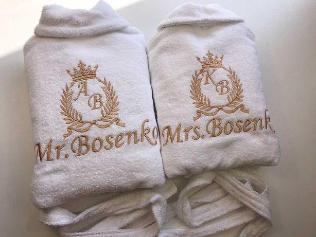 Банные халаты, полотенцы с именной вышивкой