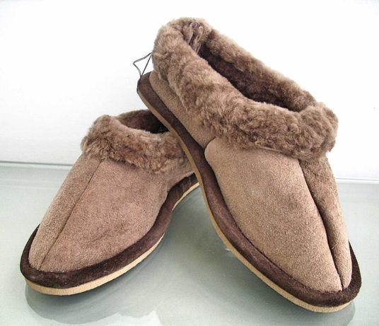 Дамски домашни обувки пантофи топлинки естествена кожа