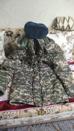 Продам бушлат зимний военный цифравой, и шапку ушанку
