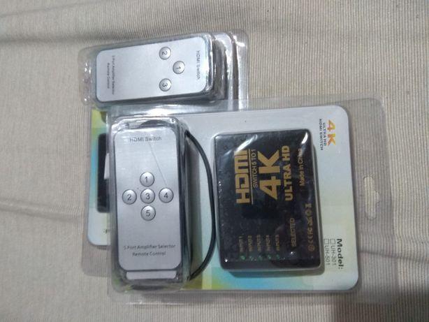 Splitter 4K Uhd switch 5x1 porturi cu telecomanda
