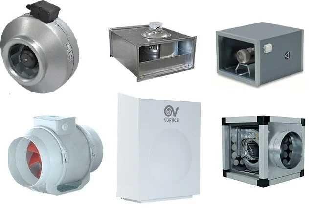 улитки давление, вибраторы площадочные, Канальные осевые вентиляторы