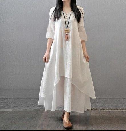 Нежное белое платье на худенькую девушку