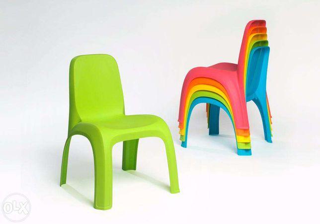Oferta -Set 100 scaune gradinita cu spatar stivuibile, diverse culori