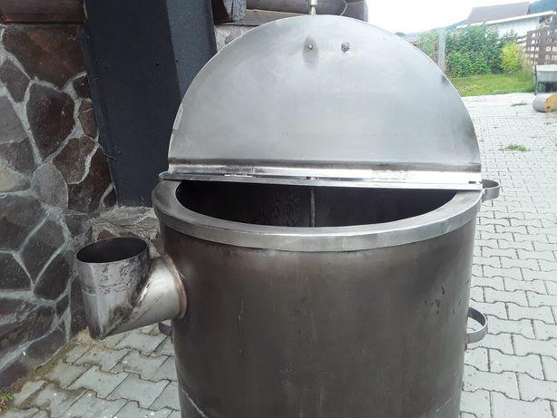 Cazan pentru gatit cu lemne- supa si tocana, interior/ exterior