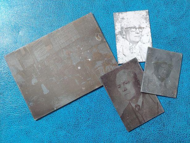Lot ferotipie / fotografie veche pe metal