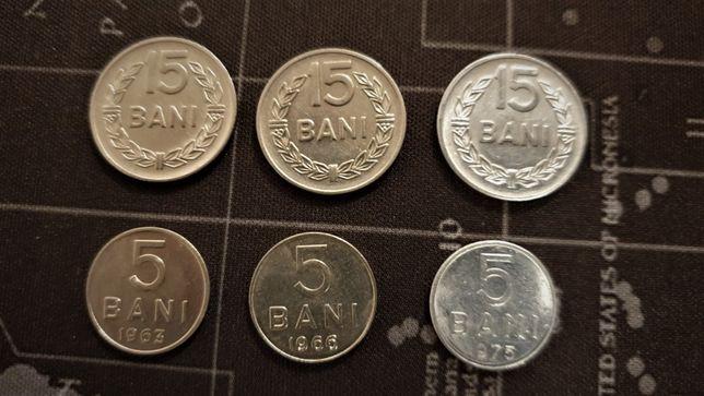 Lot de monede (republica socialista) de 5 si 15 bani