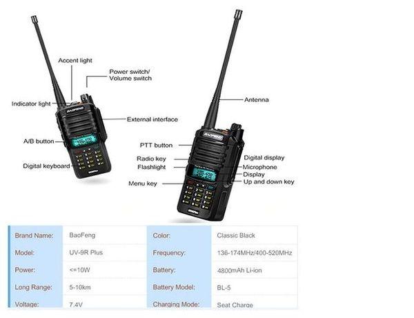 Set Walkie Talkie Baofeng UV9R 10w, 4800mA, 2021 produs Original