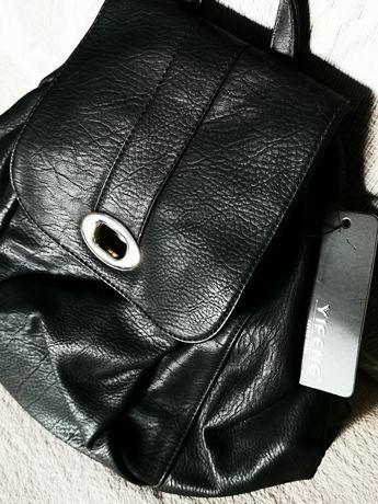 Rucsac negru piele ecologica nou cu eticheta