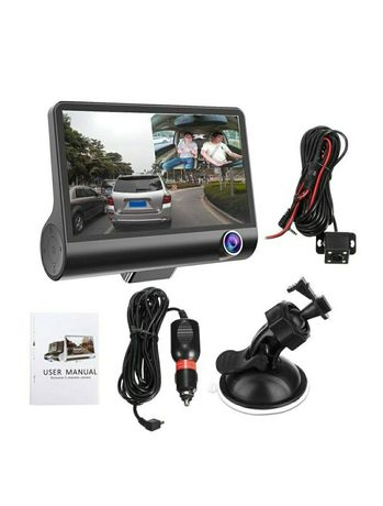 Camera video auto WDR tripla DVR Full HD 1080P 4 inch negru