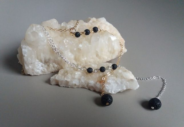 Colier aromaterapie lava stone, auriu/argintiu