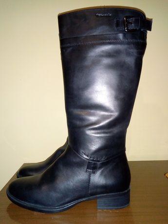 Дамски черни ботуши Tamaris от естествена кожа