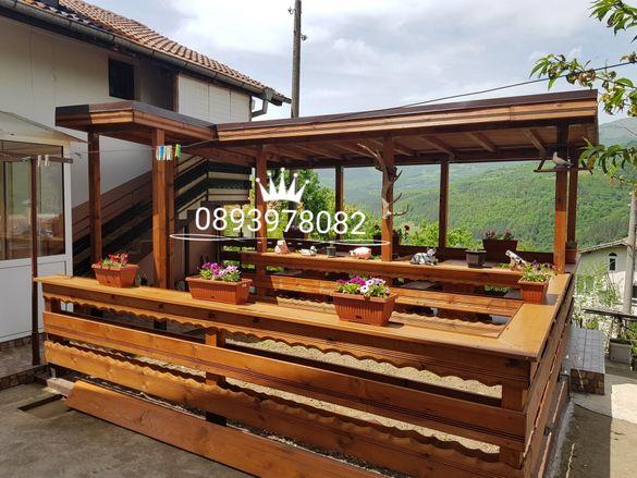 Навеси дървени навеси  навеси на тераси и закрепени за къща