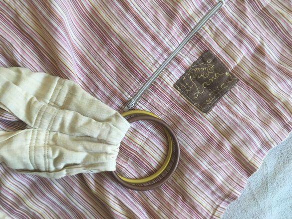 Зилана двупластов ринг слинг с джоб от памук и лен