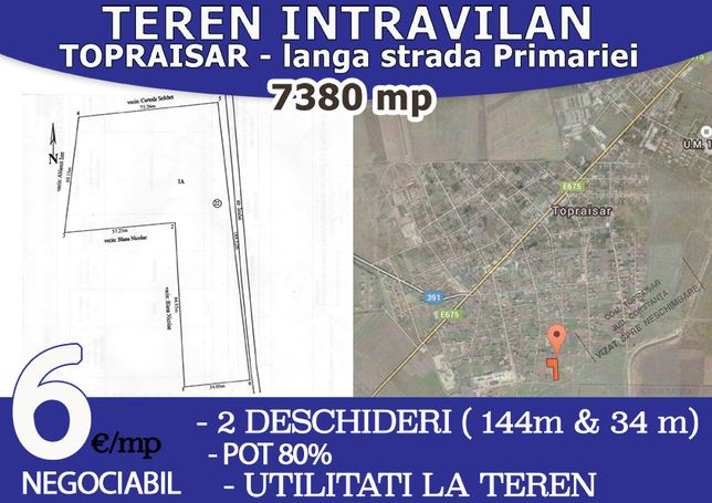 Proprietar Teren Intravilan 7380mp. 5eur/mp, 2 deschideri, cadastru