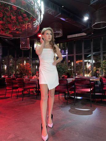 Белое платье, длина мини, Zara
