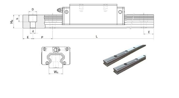 Линейни направляващи релси MGR 9, HGR 15, 20, 25, 35, 45
