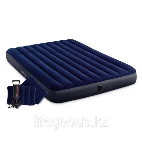 Надувной матрас двуспальный с подушками и насосом Intex 64765