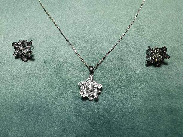 Set argint 925 model deosebit - lant, pandantiv si cercei - cadou dama