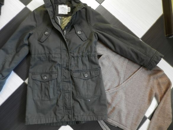 дълго яке H&M, 140 см + жилетка. цената е обща