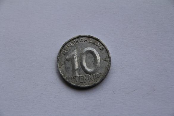 Монета 10 пфенинга ГДР 1953г.