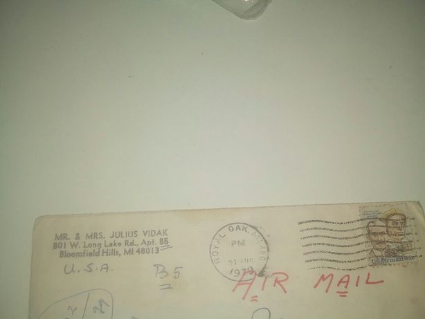 Scrisoare veche din SUA 1979 / colectionari