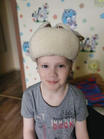 Шапка Овчина натурал детская на мальчика 5-7 лет