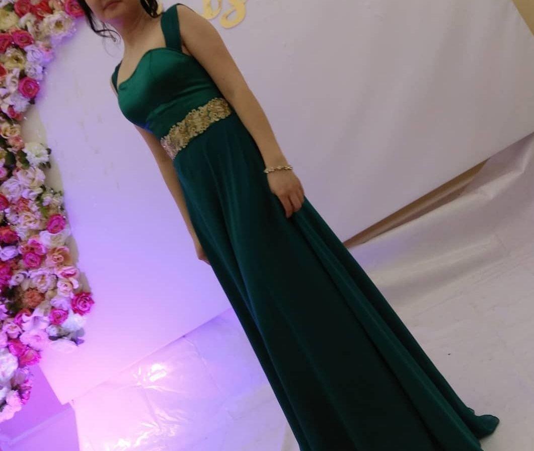 Вечернее платье в пол, изумрудное платье на той