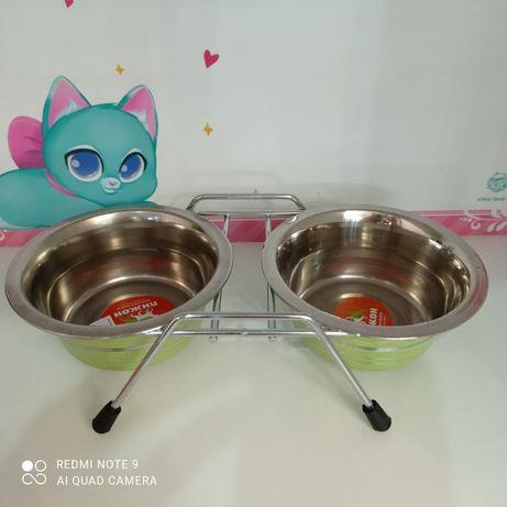 Металлические миски на подставке 350мл для кошек и собак