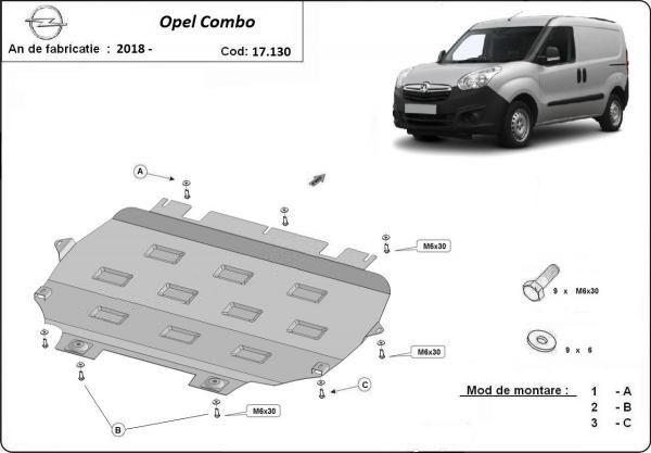 Scut motor metalic pentru Opel Combo 2000-prezent - otel 2mm
