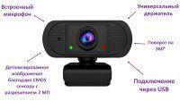 WEB камера со встроенным микрофоном, 2.0MP, SUNQAR2020