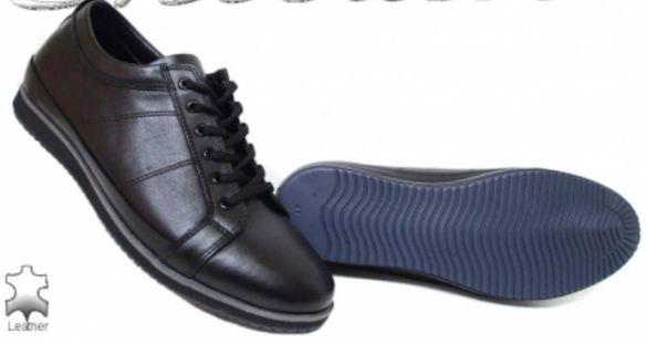 Мъжки обувки Фантазия 18204 черни спортни от естествена кожа