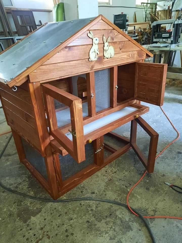 Cușcă de exterior iepuri cușcă adăpost animale mici 4 uși lemn