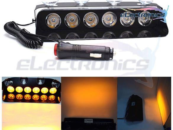 6 LED диода Аварийна лампа за пътна помощ, жълтa сигнална лампа 18 W
