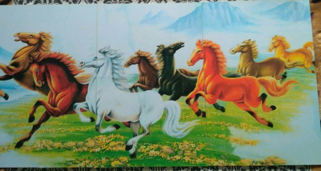"""Картина триптих """"Лошади"""""""