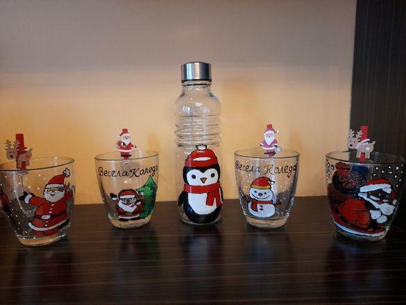 Ръчно рисувани чаши и бутилки